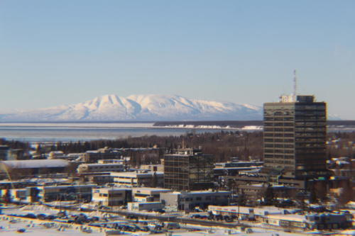 Sleeping Lady shot from the BP Building in Anchorage, Alaska. Facing northwest.